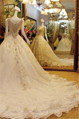 Stunning Sleeveless V-neck Crystal Beaded Appliqued Lace Wedding Dresses_3