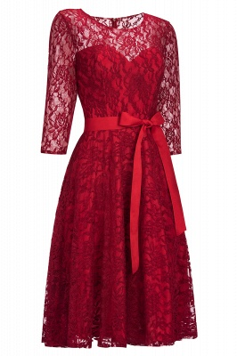 Cheap Vintage A-line Burgundy Lace Dress with Sleeves in Stock_1