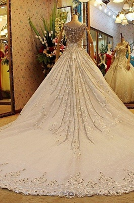 Beaded Lace Appliques Wedding Dresses   Court Train Sleeveless Bridal Gowns_3