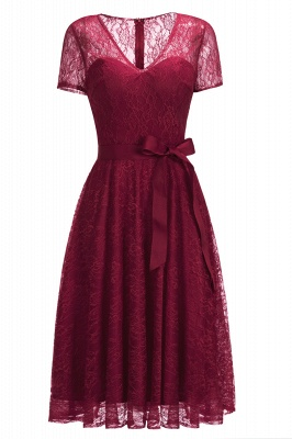Cheap V-neck Short Sleeves Lace Dress with Bow Sash in Stock_2