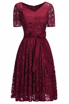 Stunning V-neck Short Sleeves Lace Dresses with Bow Sash_2