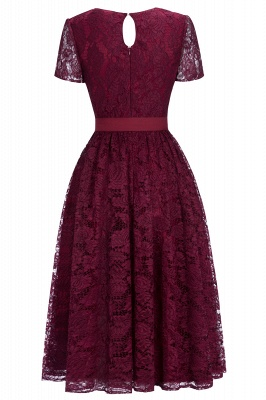 Cheap Burgundy Short Sleeves Flower Lace V-neck Dress with Sash in Stock_3