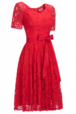 Stunning V-neck Short Sleeves Lace Dresses with Bow Sash_4