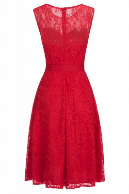 Affordable A-line Sleeveless Burgundy Lace Dresses with Bow_2