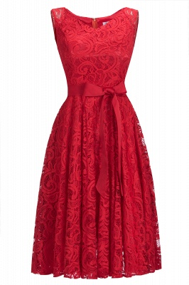 Cheap Simple Sleeveless A-line Red Lace Dress with Ribbon Bow in Stock_1