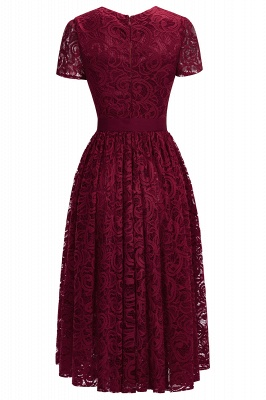 Short Sleeves Sheath Sexy Red Lace Prom Dresses with Ribbon Bow_7