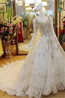 Stunning Sleeveless V-neck Crystal Beaded Appliqued Lace Wedding Dresses_1