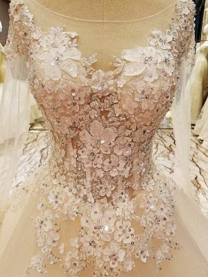 Puffy Long Sleeves Lace-up Lace Appliques Tulle Wedding Dresses_13