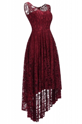 Cheap Beautiful Sleeveless A-line Crew Hi-lo Lace Dress in Stock_2
