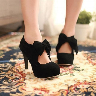 Round Toe Bowtie Hollow Stiletto Heel Women's Boots_6