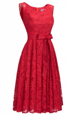 Cheap Simple Sleeveless A-line Red Lace Dress with Ribbon Bow in Stock_8
