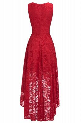 Cheap A-line Hi-lo V-neck Sleeveless Burgundy Lace Dress in Stock_8