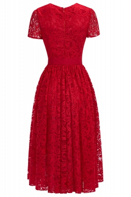 Short Sleeves Sheath Sexy Red Lace Prom Dresses with Ribbon Bow_13