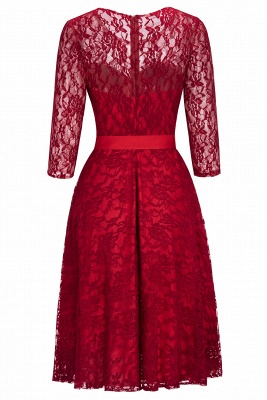 Cheap Vintage A-line Burgundy Lace Dress with Sleeves in Stock_9