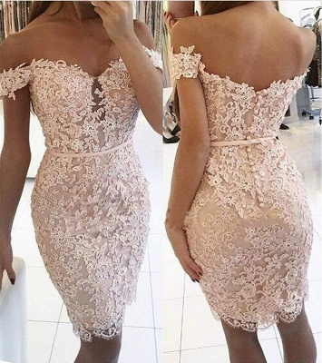 Off-the-Shoulder Homecoming Dress Elegant Lace Beaded Sheath Cocktail Dress_3