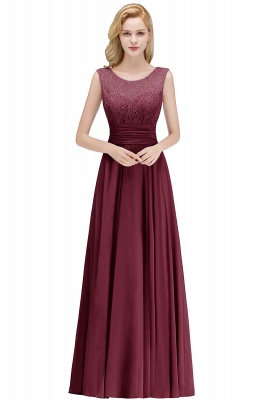 A-line Floor Length Lace Top Sleeveless Chiffon Bridesmaid Dress In Stock_2