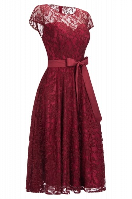 Short Sleeves A-line Burgundy Lace Dresses with Bow_3
