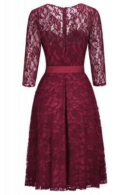 Cheap Vintage A-line Burgundy Lace Dress with Sleeves in Stock_4