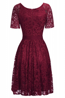 Stunning V-neck Short Sleeves Lace Dresses with Bow Sash_6