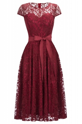Short Sleeves A-line Burgundy Lace Dresses with Bow_1