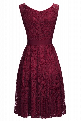Cheap Simple Sleeveless A-line Red Lace Dress with Ribbon Bow in Stock_5