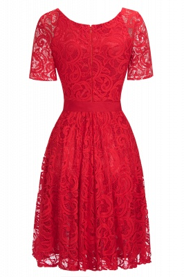 Stunning V-neck Short Sleeves Lace Dresses with Bow Sash_7