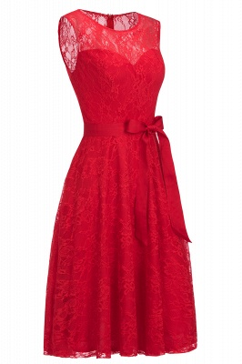 Cheap A-line Sleeveless Burgundy Lace Dress with Bow in Stock_12