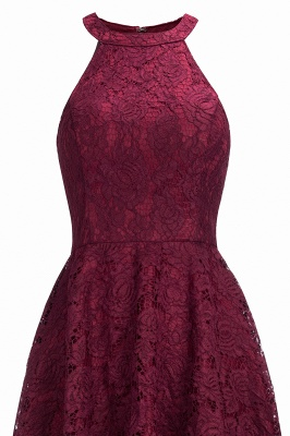 Cheap Halter Sleeveless Sheath Asymmetrical Burgundy Lace Dress in Stock_4