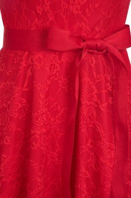 Cheap A-line Sleeveless Burgundy Lace Dress with Bow in Stock_14
