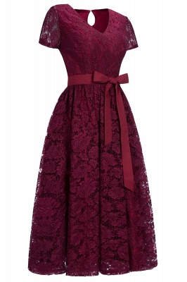 Cheap Burgundy Short Sleeves Flower Lace V-neck Dress with Sash in Stock_2