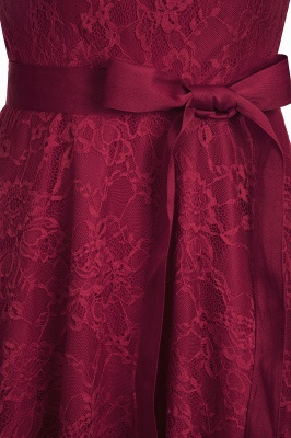 Cheap A-line Sleeveless Burgundy Lace Dress with Bow in Stock_13