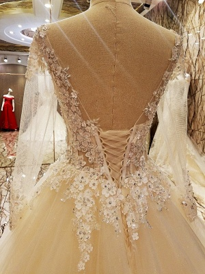 Puffy Long Sleeves Lace-up Lace Appliques Tulle Wedding Dresses_4