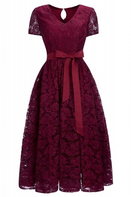 Cheap Burgundy Short Sleeves Flower Lace V-neck Dress with Sash in Stock_1