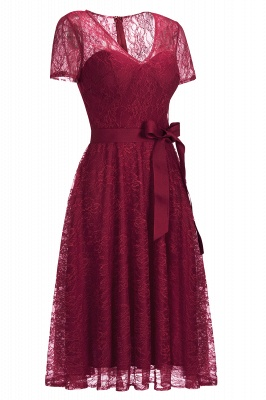 Cheap V-neck Short Sleeves Lace Dress with Bow Sash in Stock_11