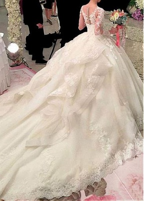 Glamorous Court Train Puffy Long Sleeves Appliques Wedding Dresses_3