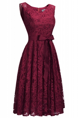 Simple Sleeveless A-line Red Lace Dresses with Ribbon Bow_6
