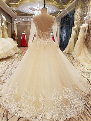 Puffy Long Sleeves Lace-up Lace Appliques Tulle Wedding Dresses_9