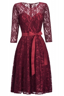 Cheap Vintage A-line Burgundy Lace Dress with Sleeves in Stock_5