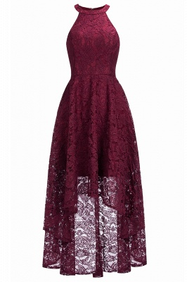 Cheap Halter Sleeveless Sheath Asymmetrical Burgundy Lace Dress in Stock_3