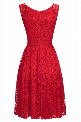 Cheap Simple Sleeveless A-line Red Lace Dress with Ribbon Bow in Stock_7