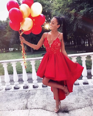 A-line V-neck Red Cute High-low Lace Homecoming Dress_3