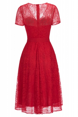 Cheap V-neck Short Sleeves Lace Dress with Bow Sash in Stock_6