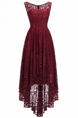 Cheap Beautiful Sleeveless A-line Crew Hi-lo Lace Dress in Stock_1