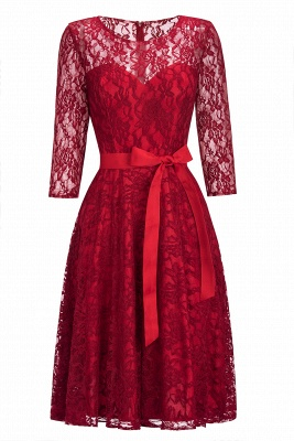 Cheap Vintage A-line Burgundy Lace Dress with Sleeves in Stock_10