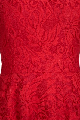 Cheap A-line Hi-lo V-neck Sleeveless Burgundy Lace Dress in Stock_9