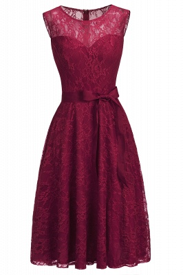Cheap A-line Sleeveless Burgundy Lace Dress with Bow in Stock_11
