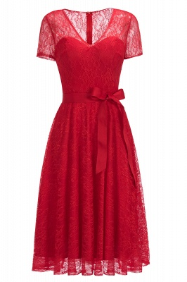 Cheap V-neck Short Sleeves Lace Dress with Bow Sash in Stock_1