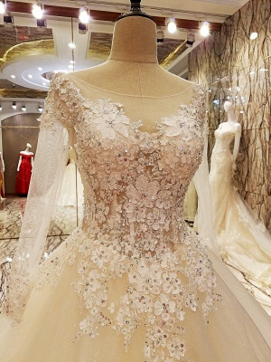 Puffy Long Sleeves Lace-up Lace Appliques Tulle Wedding Dresses_5