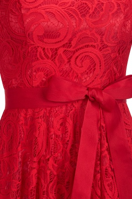 Stunning V-neck Short Sleeves Lace Dresses with Bow Sash_8