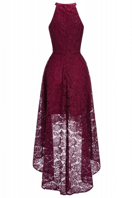 Cheap Halter Sleeveless Sheath Asymmetrical Burgundy Lace Dress in Stock_1